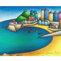 "Large modern art print, Tenby harbour welsh landscape, sea view, gift, 16"" x 20"""