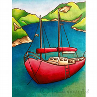 "Bright bold modern art print, coastal art, red Boat, gift for sailor, 8"" x 10"""