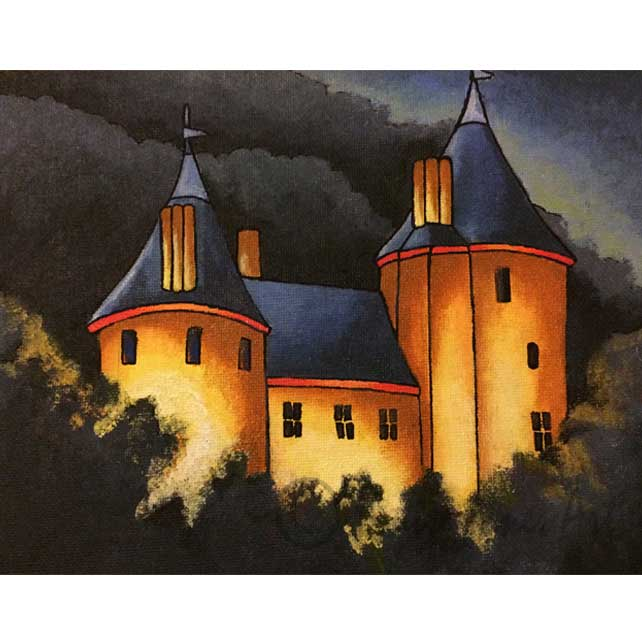 "Castell Coch At Night Mounted Fine Art Print 11"" x 14"""