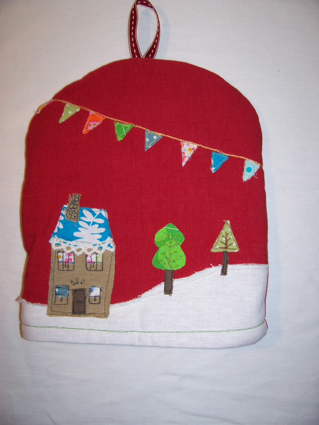 Appliqued cafetiere - french press- small tea cosy. FREE UK POST.