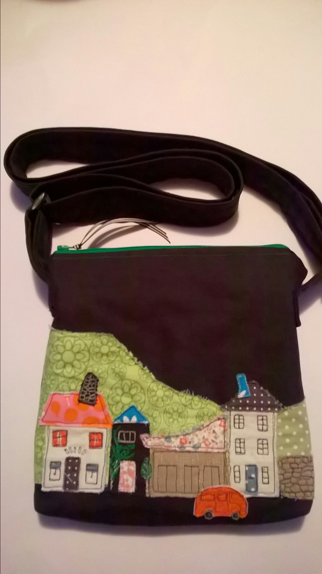 Handmade shoulder cross body bag with appliqued street scene. FREE UK POST.