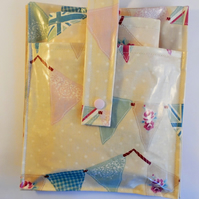 Oilcloth, pvc.Nappy pouch, small changing bag, pouch with changing mat.