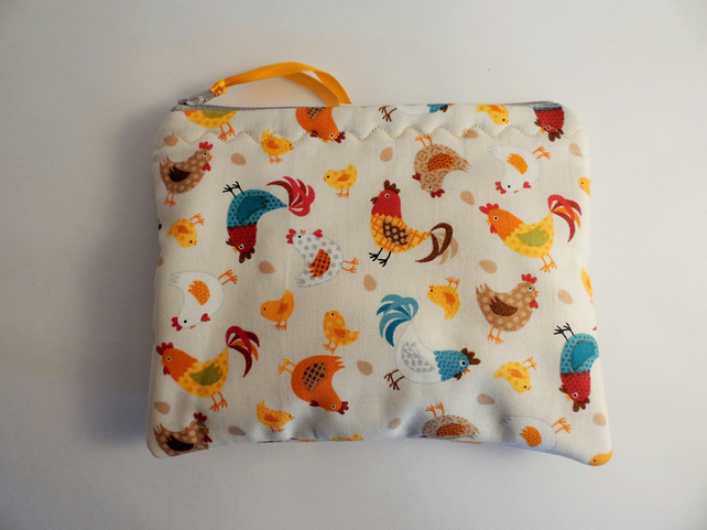 Handmade padded coin purse small make up bag. Chickens fabric.