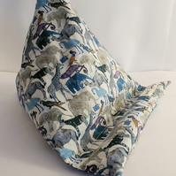 Tablet bean bag stand. ipad, kindle,tablet. Liberty blue zoo cotton fabric.