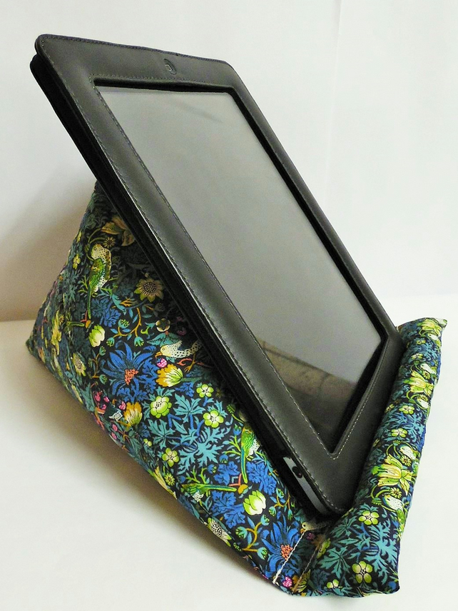 Large Tablet, i pad bean bag stand. Liberty of London strawberry thief cotton.
