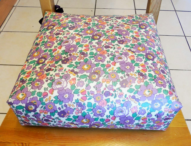Toddler booster bean cushion. Purple Betsy Liberty of London oilcloth. With Ties