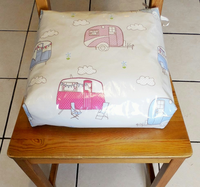 Toddler booster bean cushion. Caravans oilcloth,with Ties.