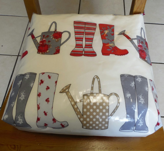 Toddler booster bean cushion. Wellington boots oilcloth,with Ties.