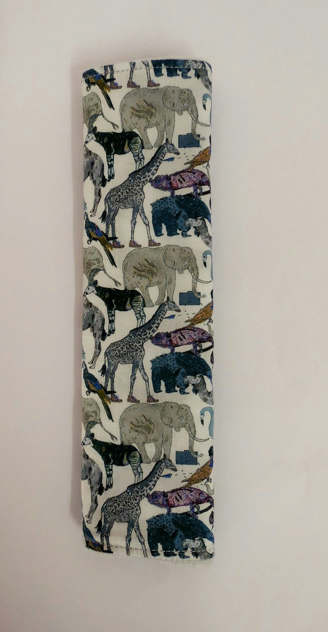 Seat belt cover. Liberty of London blue zoo and silver grey  minky. Reversible.
