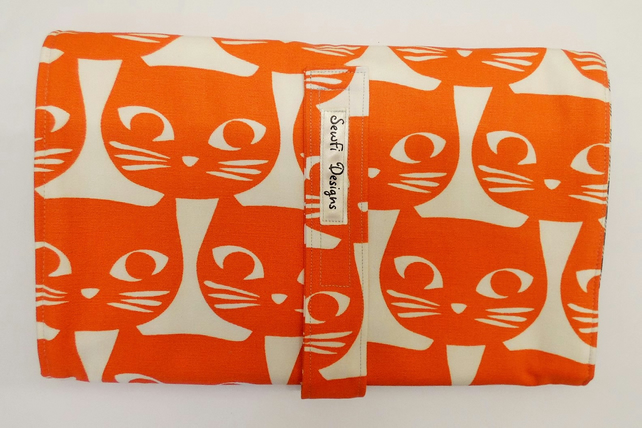 Padded folding nappy diaper case with waterproof changing mat., Orange cats.