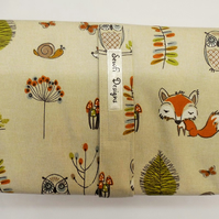 Padded folding nappy diaper case with waterproof changing mat., Woodland fox.