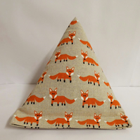 Modern orange fox  pyramid doorstop. Unfilled.
