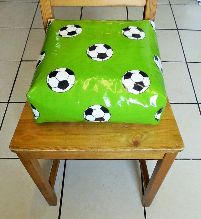 Toddler booster bean cushion 9cm . Wipeable pvc Green footballs. With Ties.