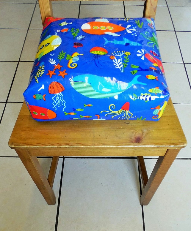 Toddler booster bean cushion 9cm . Wipeable pvc under the sea. With Ties.
