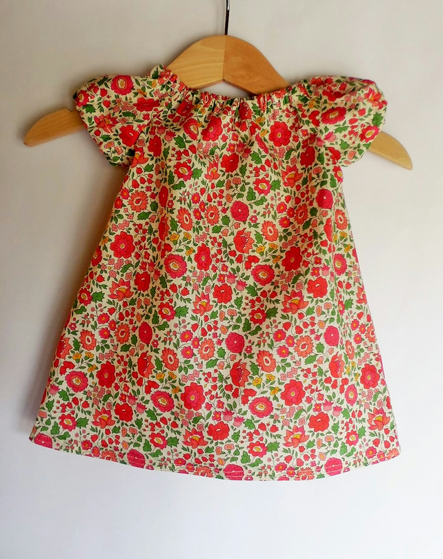 Baby girls peasant dress 0-3 months. Liberty of London D'anjo C tana lawn.