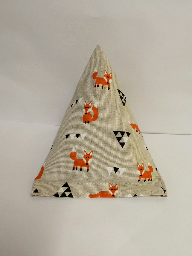 Modern orange fox and triangles  pyramid doorstop. Unfilled.