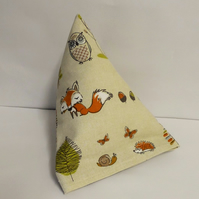 Modern woodland fox  pyramid doorstop. Unfilled.