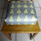 Toddler booster bean cushion 9cm . Modern scandi pears oilcloth. With Ties.