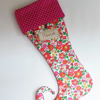 Personalised Christmas Elf stocking. Liberty of london red Betsy.