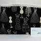Large fabric storage basket, bin. Black and white dresses, manequins.