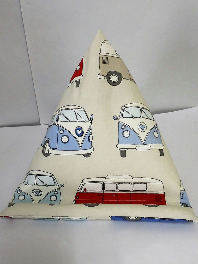 Large Tablet, i pad bean bag stand. VW campervan cotton fabric.