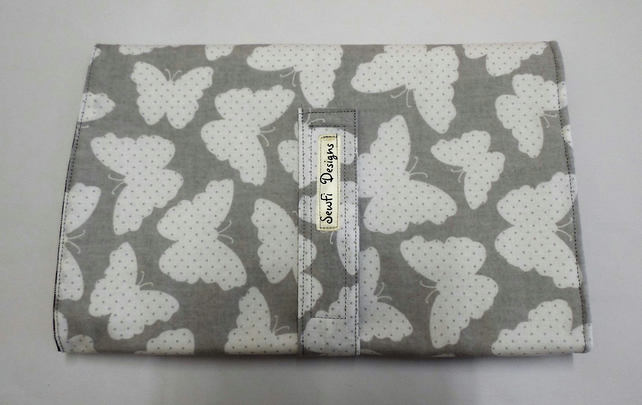 Padded folding nappy diaper case with waterproof changing mat., Grey butterflies