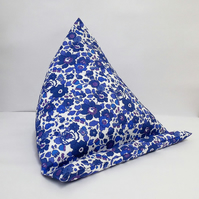Large Tablet, i pad bean bag stand. Liberty Blue Betsy cotton fabric.