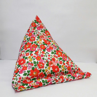 Large Tablet, i pad bean bag stand. Liberty red Betsy cotton fabric.