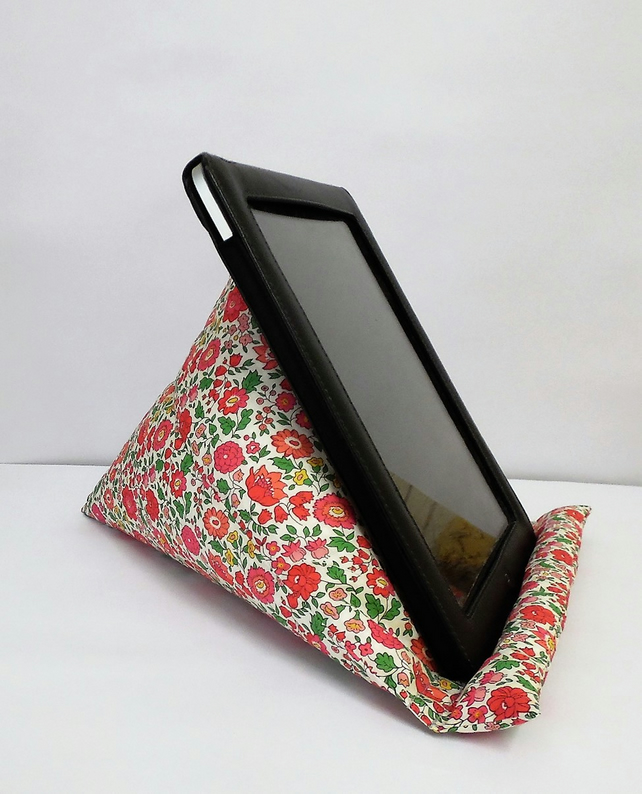 Large Tablet, i pad bean bag stand. Liberty dark pink d'anjo cotton fabric.