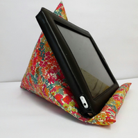 Large Tablet, i pad bean bag stand. Liberty Margaret Annie cotton fabric.