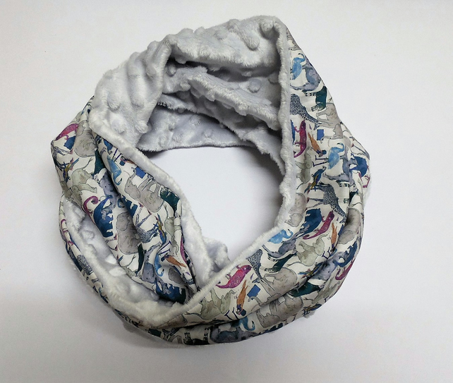 Infinity scarf. Liberty of London blue zoo and silver grey minky plush.