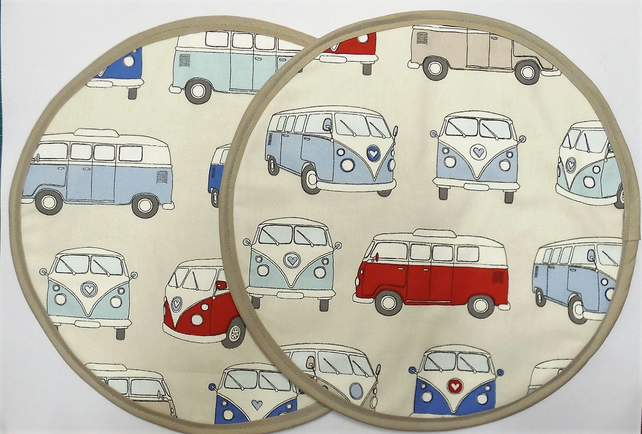 Set of 2 Aga lid covers. Vw campervan and Laura Ashley gingham.