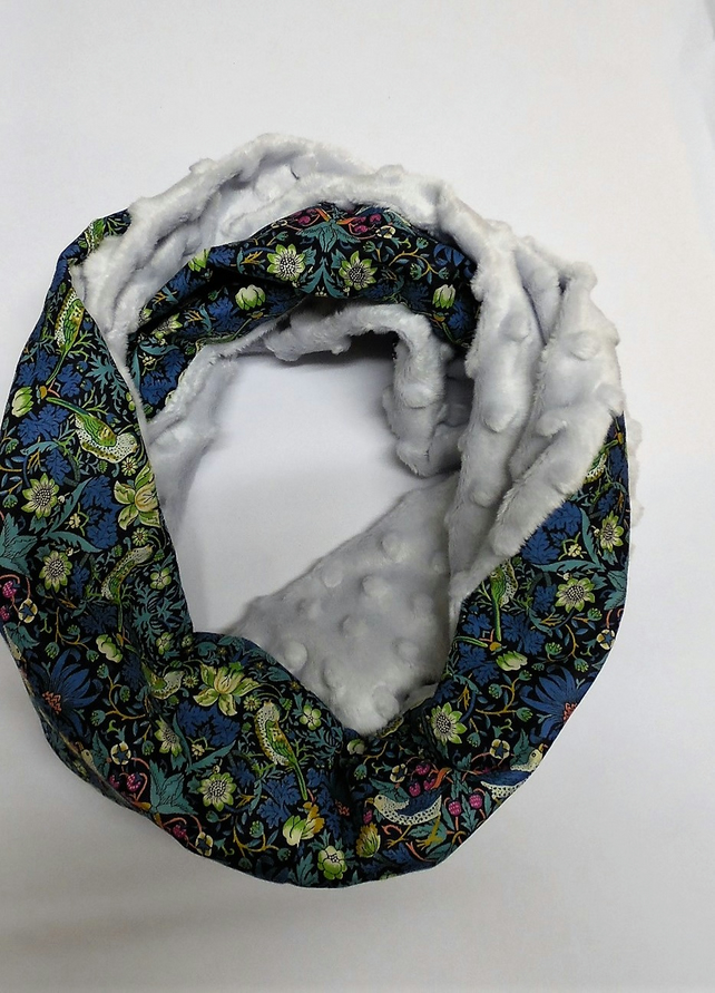 Infinity scarf. Liberty of London strawberry thief and silver grey minky plush.