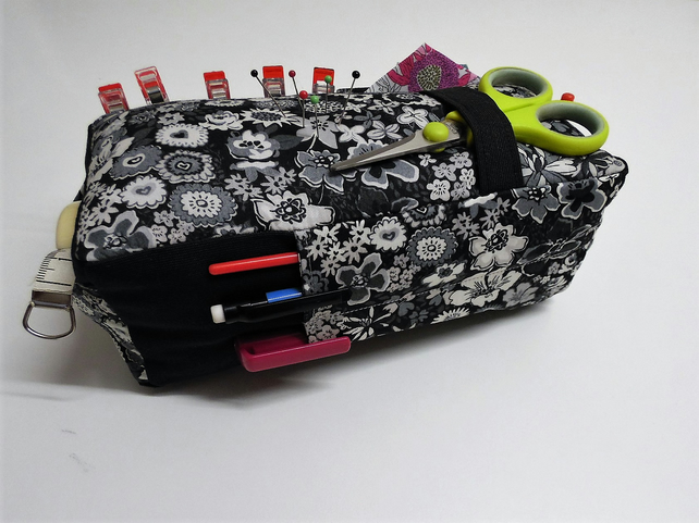 Large Pin Cushion Organiser. Liberty Bozenka. 6 pockets.