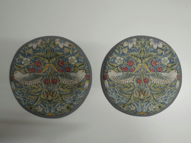 Set of 2 Aga lid covers. William Morris Strawberry Thief in duck egg.