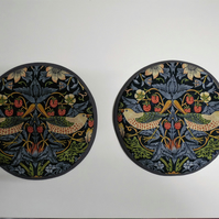 Set of 2 Aga lid covers. William Morris Strawberry Thief in Navy Blue.