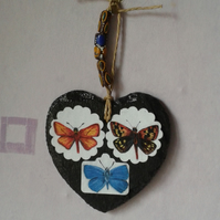 Love  heart with three butterflies