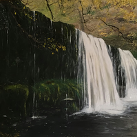 Welsh waterfall - Sgwdyr Eira painting