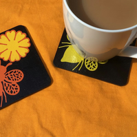 Black bee coasters