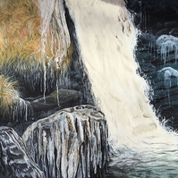 Frozen waterfall painting