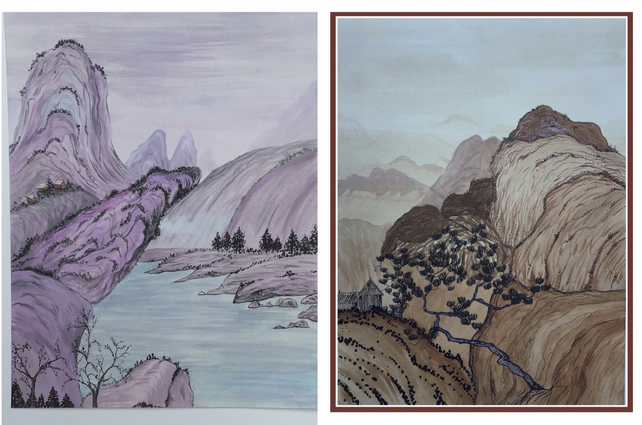 Two Chinese landscape paintings