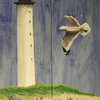 Lighthouse and seagulls painting