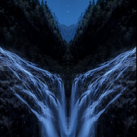 Blue waterfall print