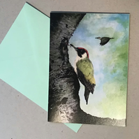 Green woodpeckers card