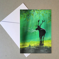 Stag at dawn card