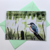Kingfisher on bulrush greeting card