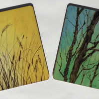 Tree and grasses coasters