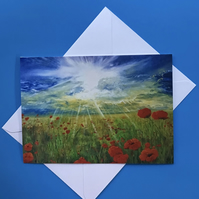 Poppies at sunset card