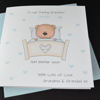 HANDMADE PERSONALISED CHILDRENS GET WELL CARD SON GRANDSON BROTHER NEPHEW FRIEND