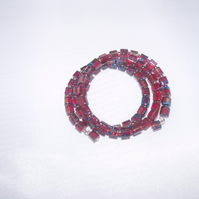Amber and Blue Square Bead Bracelet